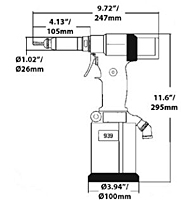 ATLAS® RIV 939 Pull-To-Pressure Tool Dimensional Drawing